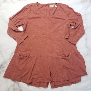 LOGO Lori Goldstein long sleeve button back tunic